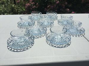 Depression Glass-Bubble Cup and Saucers (9 in total)