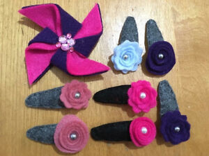 Handmade felt covered hair buckles