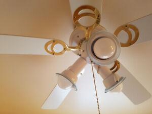 Ventilateur blanc et or