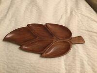 Vintage Retro Wooden Leaf Snack Serving Dish