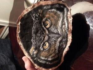 Owl painting on artist conk