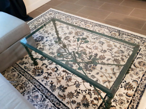 Glass top, iron wrought coffee table