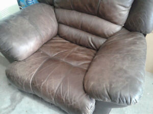 Real leather reclining sofa and chair