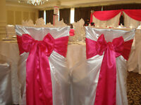 Rent Elegant Satin chair covers for $1- Sashes for 50c
