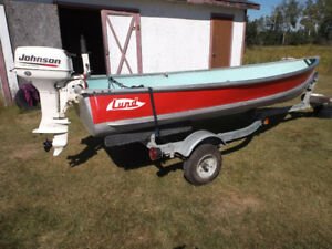 12 ft Lund boat, trailer and 2 motors for sale