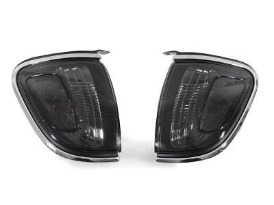 Corner Lights Lens - DEPO Pair of Smoke Lens Chrome Trim Corner Lights for 2001-2004 Toyota Tacoma
