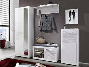4pce White Hallway Set Shoe and Hanging Storage Malaga Swan Area Preview