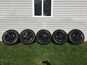 SET OF FIVE JEEP WRANGLER WINTER RIMS AND TIRES