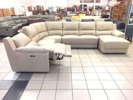GENUINE LEATHER VLAD CORNER LOUNGE W/CHAISE AND RECLINER