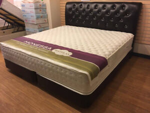 KING BED SET WITH LARGE STORAGE /LEATHER/CHROME LEGS