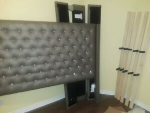 Grey Kingsize Headboard with Rhinestone less than a year old