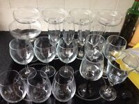 Selection of wine and champagne glasses