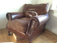 Antique leather chair suit bedroom or sitting room