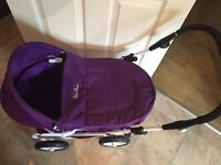 Silver cross purple pram