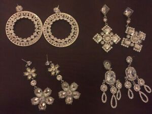 4 Pairs of Sparkling Earrings Wedding/Prom