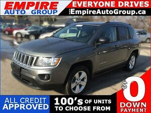 2012 JEEP COMPASS SPORT/NORTH * 4WD * LOW KM * $0 DOWN LOANS