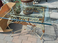 ROD IRON AND WICKER ACCENT TABLE