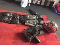 Unisex motorbike leathers, helmet, size 5 boots