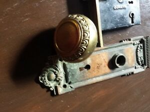 Vintage Brass Door Knob Backplates and Sargent Lock