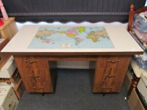 Desk with World Map