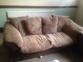 REDUCED FURTHER for quick sale 4+3 seater sofas with storage pouffe