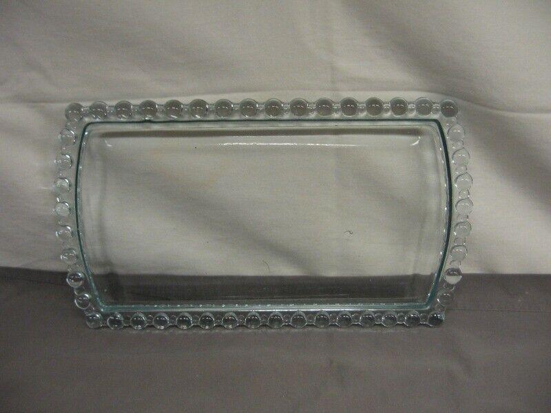 "Imperial Clear Glass Rectangular Dresser Tray/Platter  12"" Length VGC"