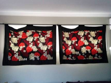 Black/Red Floral Curtains