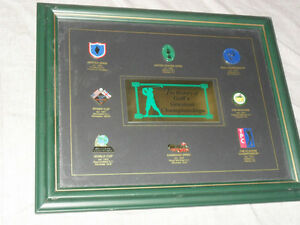 Beautifully Framed Golf pin pins sets  + Jays Bobblehead