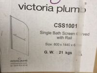 6mm Single bath/ Shower screen curved with rail