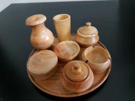 11 piece hand crafted wooden miniature crockery