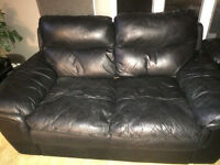 Black leather chair and love seat for sale
