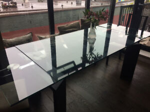 Italian Tempered Glass Extendable Dining Table - Seats up to 10