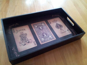 Solid wooden playing cards print black serving tray decorative London Ontario image 3