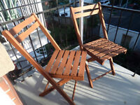 2 Wooden foldup chairs - perfect for a terrace/balcony