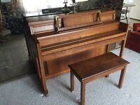 Upright piano for sale with bench