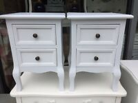 Shabby Chic Small French Style White Bedside Tables