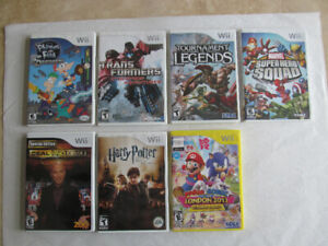 Wii games, complete with game, manual and case, Mario, Marvel ++