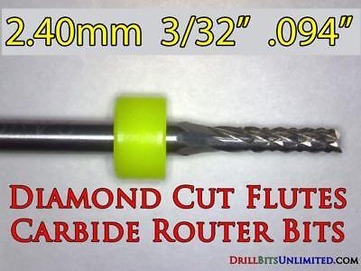 Five Pieces 332 Carbide Router Bits - Diamond Cut Flutes - Cnc Pcb Dremel Ft
