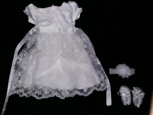 Baptism dress with shoes and headband