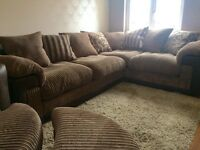 DFS corner sofa, swivel chair and futton