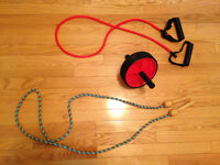 EXERCISE WHEEL, SKIPPING ROPE & EXERCISE RESISTANT BANDS