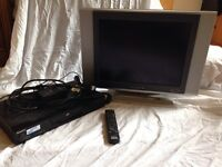 "20"" flatscreen TV and Sony DVD player"