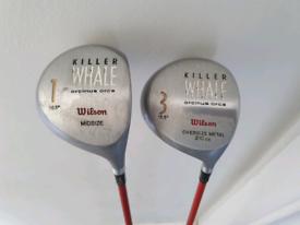 Killer Whale Wilson Driver & 3 Wood Golf Clubs