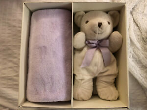 PartyLite Lavender Teddy & Blanket for Baby