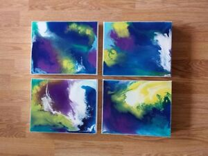 4 Modern Original Abstract Acrylic Paintings on Gallery Canvas