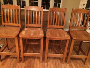 Solid wooden bar chairs