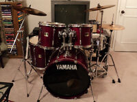5 pc. Yamaha Stage Custom drums, Sabian Cymbals, hardware