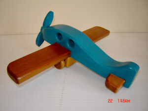 Beautiful Solid Maple Hand Crafted Wooden Vintage Toy Plane