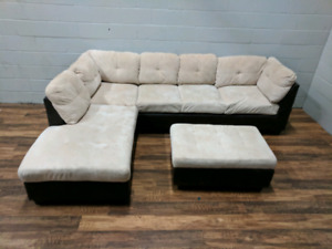 (Free Delivery) - L-shaped Microgiber Sectional Sofa and Ottoman