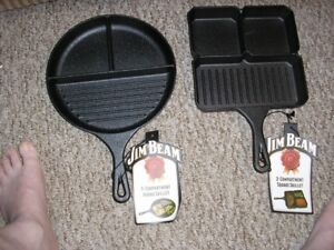NEW JIM BEAN SQUARE CAST IRON SECTIONAL SKILLET